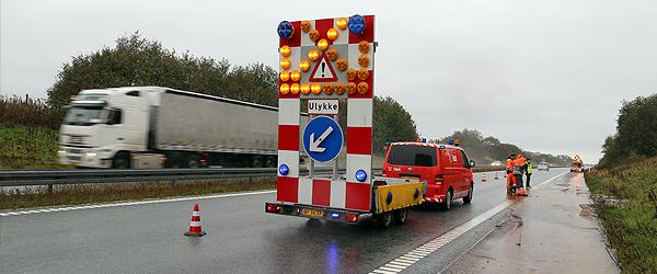 Større færdselsuheld på E45 i nordgående retning